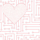 Vector electronic heart Stock Photography