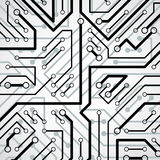 Vector electronic pattern with microchip scheme, circuit board h Stock Photography
