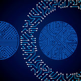 Vector electronic pattern with microchip scheme, luminescent cir Royalty Free Stock Image