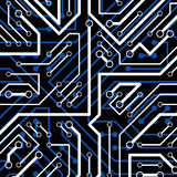 Vector electronic pattern with microchip scheme, luminescent cir Royalty Free Stock Images