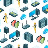 Vector electronic system of data center icons pattern or background illustration stock illustration