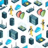Vector electronic system of data center icons pattern or background illustration vector illustration