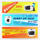 Vector electronics discount voucher templates. Bright sale banners with kitchen appliances Royalty Free Stock Images