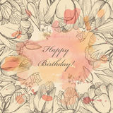 Vector elegance floral background with graphic spring flowers Royalty Free Stock Photography