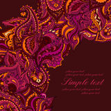 Vector elegant card with Indian paisley pattern Stock Photo