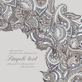 Vector elegant card with Indian paisley pattern Royalty Free Stock Photo