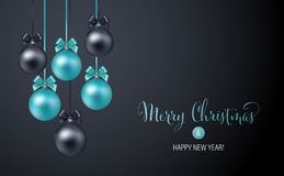 Christmas background with blue and black evening baubles stock illustration