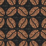 Vector elegant coffee pattern background. Coffee beans with floral ornament. Royalty Free Stock Image