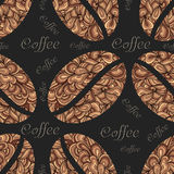 Vector elegant coffee pattern element. Coffee beans with floral ornament. Stock Photography