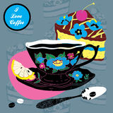 Vector Elegant Cup of Coffee Card Illustration Wit Royalty Free Stock Photo
