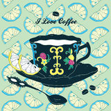 Vector Elegant Cup of Coffee Card Illustration Wit Royalty Free Stock Image