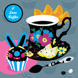 Vector Elegant Cup of Coffee Card Illustration Wit Royalty Free Stock Images