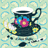 Vector Elegant Cup of Coffee Card Illustration Wit Stock Photography