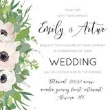 Vector elegant floral wedding invite, invitation, save the date. Card design with watercolor art style mauve anemones, eucalyptus leaves, white lilac flowers Royalty Free Stock Images