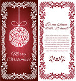 Vector elegant Greeting card with Christmas ball from abstract flower ornament and floral frame. There is a place for text Stock Image