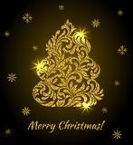 Vector elegant Greeting card with golden Christmas tree from abs Stock Photography