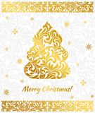 Vector elegant Greeting card with golden Christmas tree from abstract flower ornament. Background gray delicate pattern Stock Photo
