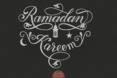 Vector elegant lettering Ramadan Kareem. Muslim holy month illustration with calligraphy, star, crescent moon and mosque Stock Photography