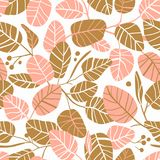 Vector elegant seamless background with foliage. Wedding pattern in pink and gold colors with leaves. Vector elegant seamless background with foliage. Wedding royalty free illustration