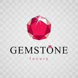 Vector elegant sparkling gem. Faceted gemstone sign emblem, illustration. stock illustration