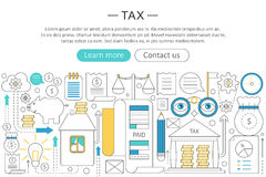 Vector elegant thin flat line tax taxes concept. Web header tax taxes banner elements layout. Presentation, flyer and Royalty Free Stock Images
