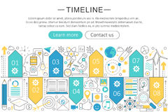 Vector elegant thin flat line Timeline concept. Website header banner Timeline elements layout. Presentation, flyer and. Poster Stock Photos