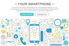 Vector elegant thin flat line Your Smartphone phone concept. Smartphone header banner elements layout. Presentation Royalty Free Stock Photos