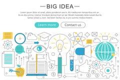 Vector elegant thin line flat modern Art design Big idea concept.. Website header banner elements layout. Presentation, flyer and poster Stock Photos