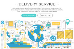 Vector elegant thin line flat modern Art design Delivery cargo transportation logistics service concept.  Royalty Free Stock Photography