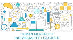 Vector elegant thin line flat modern Human mentality and individuality concept. Website header banner elements layout Stock Photo