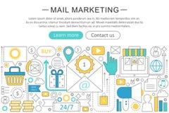 Vector elegant thin line flat modern Mail marketing concept. Website header banner elements layout. Presentation, flyer Stock Photos