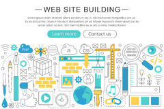 Vector elegant thin line flat modern website building concept. Stock Photo