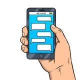 Vector elegante del arte pop de la mensajería del teléfono Imágenes de archivo libres de regalías