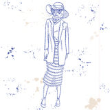 Vector elegante vrouw met kattenhoofd Stock Afbeeldingen