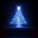 Vector elektronische Kerstmisboom Royalty-vrije Stock Afbeeldingen