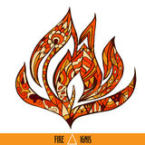 Vector element of nature - fire or flame. Hand drawn Vector element of nature - fire or flame in orange hot colors with title and symbol Royalty Free Stock Photo