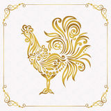 Vector element for New Year. Vector illustration for 2017 year with  rooster - chinese symbol of new year.. Golden Cockerel in gold frame Stock Images