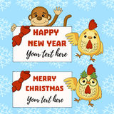 Vector element for New Years design. with monkey and frames for new year text. Vector element for New Years design vector illustration