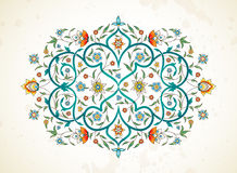 Vector element, ornament in Eastern style. Vector element, arabesque for design template. Luxury ornament in Eastern style. Turquoise floral illustration Royalty Free Stock Photo