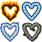 Vector elemental hearts. Fire, ice, wind and stone hearts Royalty Free Stock Photography