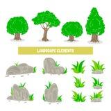 Vector elementos da paisagem, árvores, pedras, grama isolada no branco Ilustração do vetor Fotos de Stock