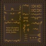 Vector elementos do vintage com redemoinhos florais, quadros Fotos de Stock Royalty Free