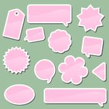Vector elements. Set of pink labels on a green background Stock Photo