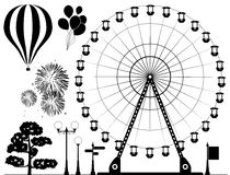 Vector elements of amusement park. Vector black and white elements of amusement park - ferris wheel, hot air balloons, fireworks, lamps, tree and road signs Stock Photos