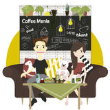 Vector elements of coffee shop infographic with furniture stock photo