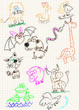 Vector elements of design. Stylised under children's drawing a pencil. A sketch of animals Stock Photo