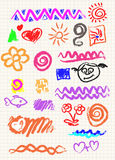 Vector elements of design. Stylised under children's drawing a pencil. Sketch Royalty Free Stock Images