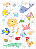 Vector elements of design stylised under children`s drawing a pe. Ncil. A sketch of animals, birds, fish and insects Stock Photo