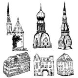 Vector elements of european old town royalty free illustration