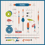 Vector elements of Fishing tackle in flat style Royalty Free Stock Photo